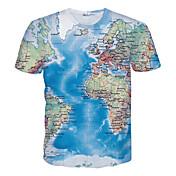 Camiseta De los hombres Estampado-Casual / Deporte-Poliéster-Manga Corta-Azul