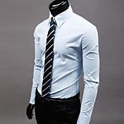 Hombre Formal Tallas Grandes Casual/Diario Trabajo Camisa Un Color Manga Larga Poliéster