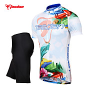 TASDAN® Cycling Jersey with Shorts Men's Short Sleeve BikeBreathable / Quick Dry / 3D Pad / Reflective Strips / Back Pocket /