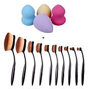 10個入り/セット歯ブラシの眉毛の基礎アイライナーリップ楕円形のブラシ+ 4本入り化粧ファンデーションパフ形状スポンジ