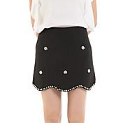 婦人向け キュート 膝上 スカート,コットン 伸縮性なし