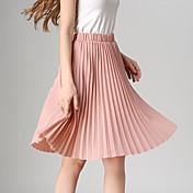 婦人向け ヴィンテージ / カジュアル 膝丈 スカート,ポリエステル 伸縮性あり