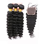Trama del pelo con cierre Cabello Brasileño Ondulado Medio 12 meses 4 Piezas los tejidos de pelo