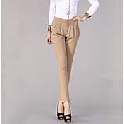 Dámské Větší velikosti Džíny Kalhoty,Práce Jednobarevné Mid Rise Zip Knoflíky Nylon Elastan Mikroelastické All Seasons