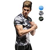 Vansydical® Hombre Camiseta de running Manga Corta Secado rápido Transpirable Camiseta Ropa de Compresión Top para Ejercicio y Fitness