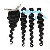 Trama del pelo con cierre Cabello Peruano Ondulado Amplio 18 Meses 3 Piezas los tejidos de pelo