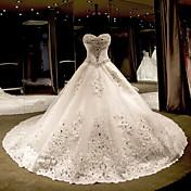 プリンセス ストラップレス カテドラルトレーン チュール ウェディングドレス とともに ビーズ 〜によって
