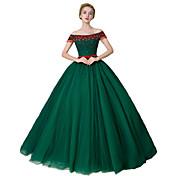 Salón Princesa Hasta el Suelo Satén Tul Satén Estirado Evento Formal Vestido con Detalles de Cristal por MMHY