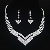 Collar / pendientes Los sistemas nupciales de la joyería Brillante Legierung Plata Collares Pendientes Para Boda Fiesta 1 SetRegalos de