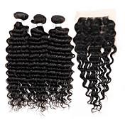 閉鎖が付いている毛横糸 ブラジリアンヘア ウェーブ 4個 ヘア織り