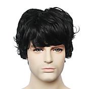 capless černá krátký rovný pánské lidské vlasy paruka pro mladé muže