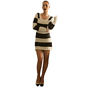 sensuais listras pretas e brancas das mulheres joannekitten® vestido camisola de malha