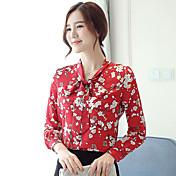 De las mujeres Bonito / Tejido Oriental Formal / Trabajo Primavera / Otoño Blusa,Escote Redondo Floral Manga Larga Poliéster Rojo Fino