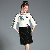 aofuliプラスサイズの女性の秋の高い刺繍レース黒、白のカラーブロック3/4スリーブエレガントなパーティードレス