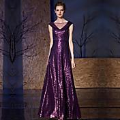 aラインVネックフロアの長さcharmeuseスパンコール付きフォーマルイブニングドレス