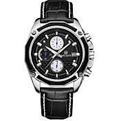 MEGIR Hombre Reloj Deportivo Reloj de Vestir Reloj de Pulsera Cuarzo Calendario Cronógrafo / Piel Banda Casual Negro Marrón Blanco Negro
