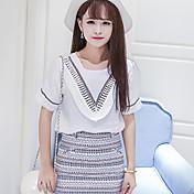 婦人向け カジュアル/普段着 夏 Tシャツ,シンプル Vネック ソリッド ホワイト コットン 半袖 ミディアム