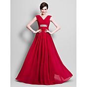 Lanting Bride® A-Linie Větší velikosti / Malé Šaty pro matku nevěsty Na zem Bez rukávů Šifón - Korálky / Boční řasení