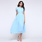 婦人向け ラウンドネック ボタン ドレス , シフォン ミディ 半袖