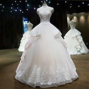 ビーズレースと王女の高首の床の長さのレースチュールウェディングドレス