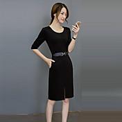 De las mujeres Corte Bodycon Vestido Trabajo Vintage,Un Color Escote Redondo Hasta la Rodilla 1/2 Manga Rojo / Morado Poliéster Otoño