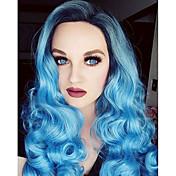 パステルシルバーブルーオンブルのかつらの長い巻き毛のサイド前髪は、着色されたファッションウィッグ、高品質をオンブル