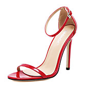 Mujer-Tacón Stiletto-Confort-Sandalias-Boda Vestido-Cuero PVC-Negro Rojo Blanco Almendra