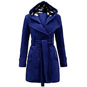 Simple / Chic de Calle Un Color Abrigo,Con Capucha Manga Larga Invierno Poliéster Azul / Rojo / Beige / Negro / Gris / Morado Medio