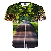 Camiseta De los hombres Estampado-Casual / Formal / Deporte-Poliéster-Manga Corta-Verde
