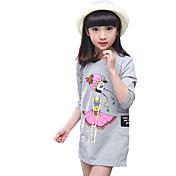 女の子の カジュアル/普段着 ゼブラプリント コットン,ドレス 春 ホワイト / グレー