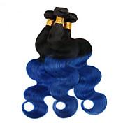 Cabello humano Cabello Malayo Ombre Ondulado Grande Extensiones de cabello 4 Piezas 1B / AZUL
