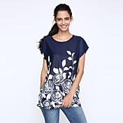 De las mujeres Simple Casual/Diario Verano Camiseta,Escote Redondo Estampado Manga Corta Seda Rojo / Negro Fino