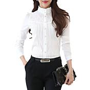 婦人向け カジュアル/普段着 春 シャツ,プラスサイズ スタンド ソリッド ホワイト ポリエステル 長袖 ミディアム