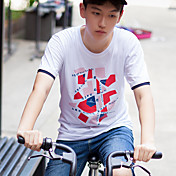 WOWTEE 男性 ラウンドネック ショート Tシャツ アイボリー / ネービー-WT-TX014