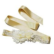 Cetim Casamento / Festa/Noite / Dia a Dia Faixa-Miçangas / Florais / Imitação de Pérola Feminino 98 ½polegadas(250cm)Miçangas / Florais /