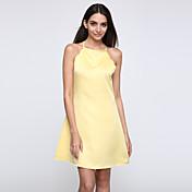 婦人向け シンプル / ストリートファッション シフト ドレス,ソリッド 膝上 ストラップ 竹繊維 / ポリエステル