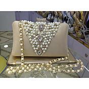 Mujer Bolsos Todas las Temporadas Cuero sintético Baguette Bolso de Noche con Cuentas Perla Perla de Imitación Cristal / Cristal para