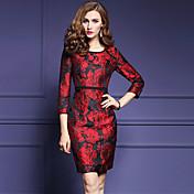 女性 シンプル お出かけ / プラスサイズ シフト ドレス,ジャカード ラウンドネック 膝上 七部袖 レッド ポリエステル 秋 ミッドライズ 伸縮性なし ミディアム
