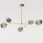 Norte de europa vintage lámpara de 5 cabezas de vidrio moléculas luces colgantes dormitorio luminaria
