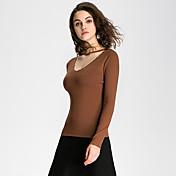 Mujer Bonito / Chic de Calle Noche / Casual/Diario / Vacaciones Para Todas las Temporadas / Invierno Camiseta,Escote en Pico Un Color