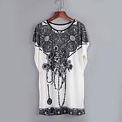 レディース カジュアル/普段着 夏 Tシャツ,セクシー ラウンドネック プリント ナイロン 半袖 スモーキー