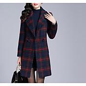 女性 カジュアル/普段着 冬 千鳥格子 コート,シンプル レッド / グリーン ポリエステル 長袖 ミディアム