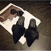 MujerConfort-Zapatillas y flip-flop-Casual-Tejido-Negro / Bermellón