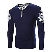 Muži Jednoduché Velké velikosti Standardní Rolák Tisk,Modrá Dlouhý rukáv Do V Polyester Zima Tlusté Lehce elastické
