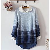 Damen Standard Pullover-Lässig/Alltäglich Einfach Einfarbig Blau Rundhalsausschnitt Langarm Baumwolle Frühling Herbst Mittel
