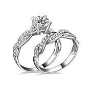 Ringe Kvadratisk Zirconium Bryllup Fest Daglig Afslappet Smykker Sølvbelagt Dame Parringe Forlovelsesring 2 Stk.,6 7 8 9 10 Sølv