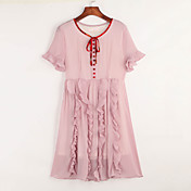 婦人向け シンプル カジュアル/普段着 スウィング ドレス,ソリッド ラウンドネック 膝上 半袖 ピンク レーヨン 夏