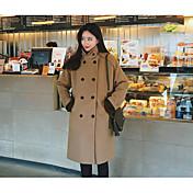 女性 カジュアル/普段着 冬 ソリッド コート,シンプル ブラック / ブラウン ポリエステル 長袖 厚手