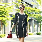 女性 シンプル カジュアル/普段着 シース ドレス,ストライプ ラウンドネック 膝上 七部袖 レッド / ブラック ポリエステル 秋 ハイライズ マイクロエラスティック ミディアム
