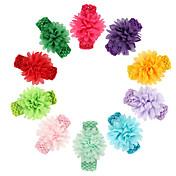 11pcs /セット赤ちゃんの女の子は、ヘアアクセサリー幼児のヘアバンドtodder広い弾性heabandと花のヘッドバンドシフォン